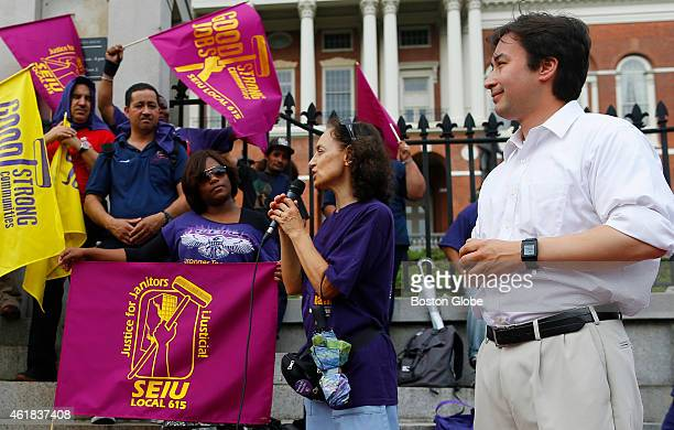 Candidate for Lt Governor Lelund Cheung attends a rally for MBTA Janitorial Services at the State House in Boston on July 15 2014