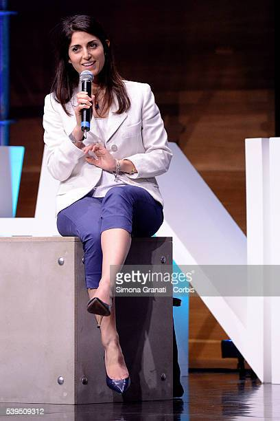 Candidate for mayor of Rome Virginia Raggi speaks during a meeting of Union of Industrialists on June10 2016 in Rome Italy