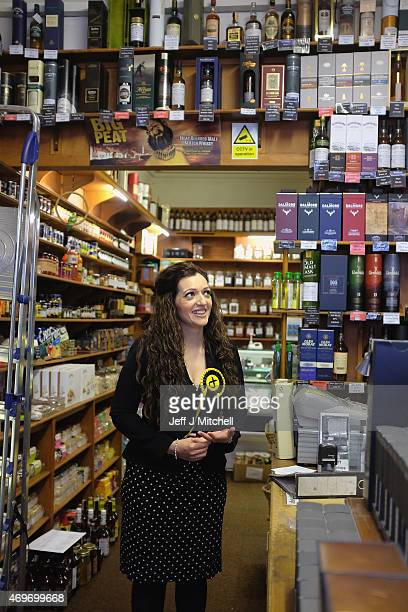 SNP candidate for Perthshire South and Ochil Tasmina Ahmed Sheikh visits a whisky shop as she canvases in the constituency on April 14 2015 in Crieff...