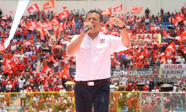 Candidate for Presidency Hugo Martinez gives and speech at Cuscatlan Stadium on September 09 2018 in San Salvador El Salvador Hugo Martínez and...