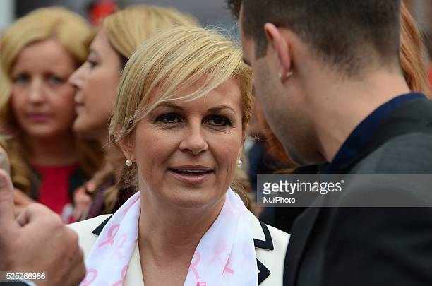 Candidate for President of the Republic Croatia Kolinda GrabarKitarovic talked with the citizens at Ban Jelacic Square on 4th October 2014...