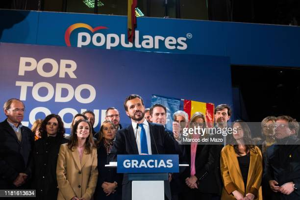 Candidate for prime minister Pablo Casado of Partido Popular speaking during the election night. Popular party has been the second most voted party,...