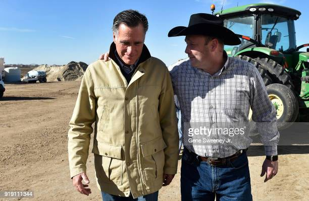 Candidate for senate Mitt Romney tours Gibson's Green Acres Dairy with Kerry Gibson on February 16 2018 in Ogden Utah Romney is running for a US...
