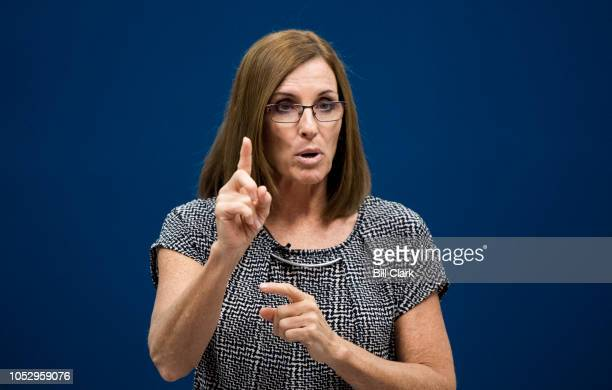GOP candidate for Senate Rep Martha McSally RAriz speaks to students after touring the Universal Technical Institute in Avondale Ariz outside of...