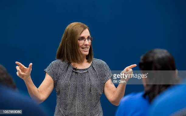 Candidate for Senate Rep. Martha McSally, R-Ariz., speaks to students after touring the Universal Technical Institute in Avondale, Ariz., outside of...