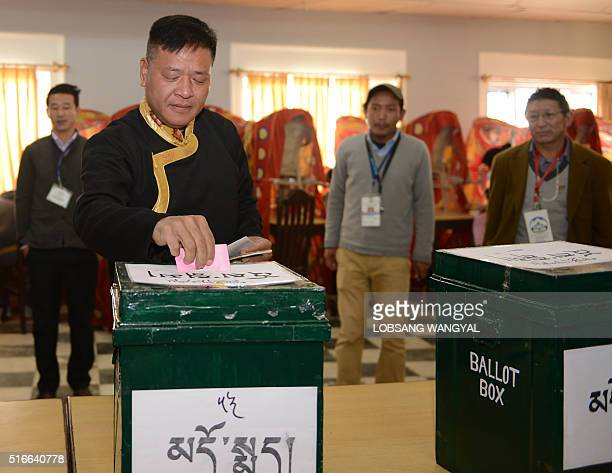 Candidate for Sikyong Penpa Tsering casts his vote in leadership elections in Dharamshala on March 20 2016 Tens of thousands of exiled Tibetans have...