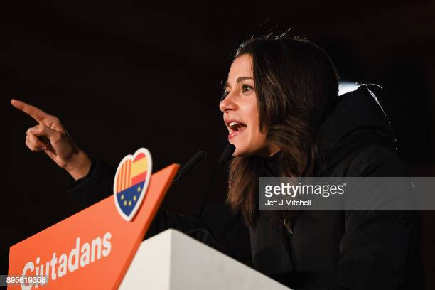 Candidate for the centerright party Citizens Ines Arrimadas addresses their closing election rally ahead of the forthcoming Catalan parliamentary...