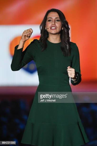 Candidate for the centerright party Ciudadanos Ines Arrimadas addresses a rally ahead of the forthcoming Catalan parliamentary election on December...
