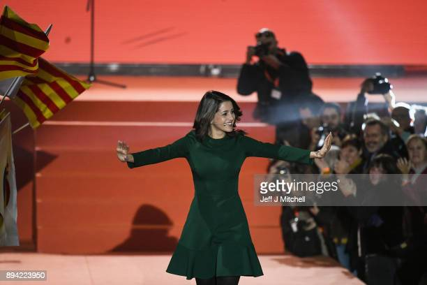 Candidate for the centerright party Ciudadanos Ines Arrimadas addresses a rally ahead forthcoming Catalan parliamentary election on December 17 2017...