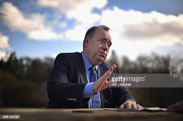SNP candidate for the Gordon constituency Alex Salmond gives a media interview to a Dutch film crew during the first day of the British General...