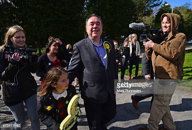 SNP candidate for the Gordon Constituency and Former First Minister Alex Salmond arrives at the local polling station on May 07 2015 in Ellon...