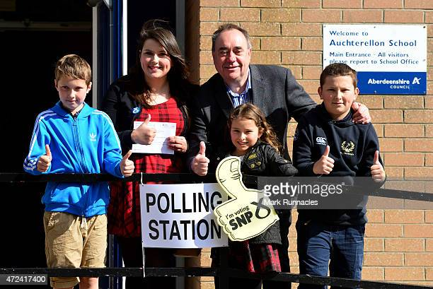 SNP candidate for the Gordon constituency and Former First Minister Alex Salmond gives the thumbs up with first time voter Nicki Falconer and her...
