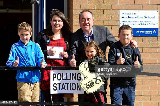SNP candidate for the Gordon constituency and Former First Minister Alex Salmond with first time voter Nicki Falconer and her family Mackenzie Nicki...