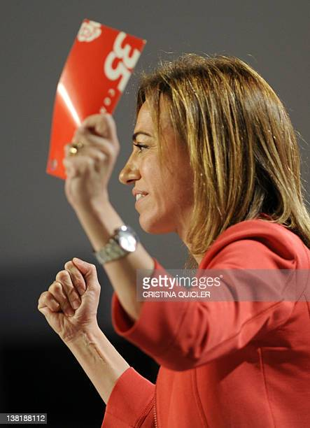Candidate for the leardership of Spain's Socialist Party Carme Chacon gestures during the Socialist Party Congress in Sevilla on February 4 2012 The...