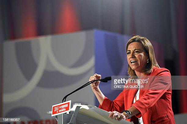 Candidate for the leardership of Spain's Socialist Party Carme Chacon gestures at his speech during the Socialist Party Congress in Sevilla on...