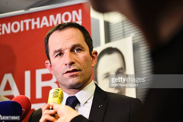 Candidate for the leftwing primaries ahead of the 2017 presidential election Benoit Hamon speaks after a press conference on December 9 2016 in Paris...