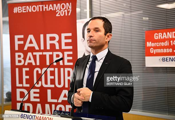 Candidate for the leftwing primaries ahead of the 2017 presidential election Benoit Hamon arrives for a press conference on December 9 2016 in Paris...