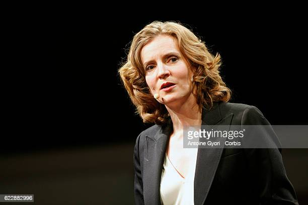 Candidate for the Les Republicains party primaries Nathalie KosciuskoMorizet speaks during a campaign rally salle Wagram on November 9 2016 in Paris...