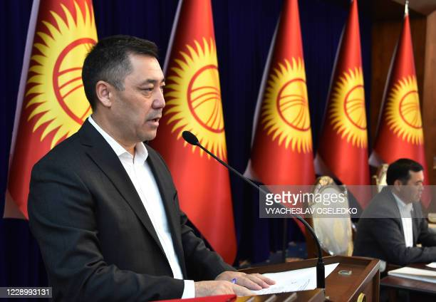Candidate for the post of prime minister Sadyr Japarov speaks at an extraordinary session of the Kyrgyz Parliament at the Ala-Archa state residence...
