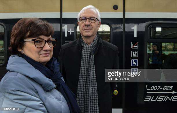 Candidate for the presidential election Jiri Drahos and his wife Eva arrive at the Prague main train station for the start of the election campaign...