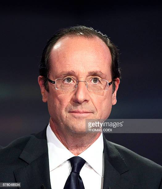 candidate for the Socialist Party's 2011 primary vote for France's 2012 presidential election Francois Hollande poses on October 11 2011 on a set of...