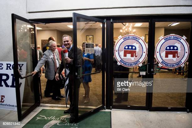 GOP candidate for US Senate Judge Roy Moore exits the building after the US Senate candidate forum held by the Shelby County Republican Party in...