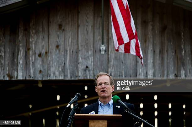 Candidate for US Senate Rep Jack Kingston RGa speaks to attendees at the Law Enforcement Cookout at Wayne Dasher's pond house in Glennville Ga on...