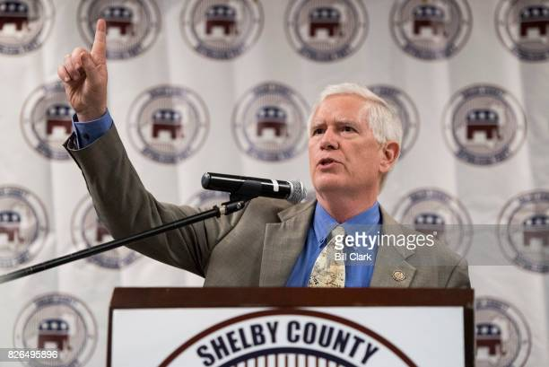 Candidate for U.S. Senate Rep. Mo Brooks, R-Ala., speaks during the U.S. Senate candidate forum held by the Shelby County Republican Party in Pelham,...