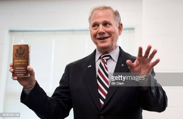 GOP candidate for US Senate Roy Moore speaks during a candidates' forum in Valley Ala on Thursday Aug 3 2017 The former Chief Justice of the Alabama...