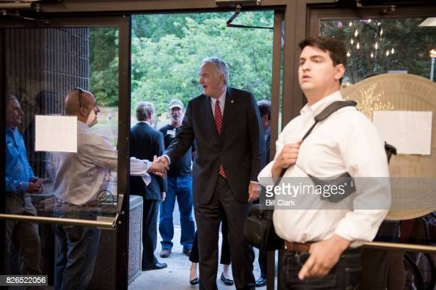 Candidate for U.S. Senate Sen. Luther Strange, R-Ala., arrives for the U.S. Senate candidate forum held by the Shelby County Republican Party in...