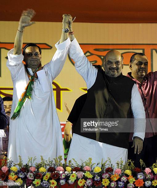 BJP candidate from Bhawanipore Chandra Bose BJP President Amit Shah and BJP MP Paresh Rawal during a public meeting for upcoming Phase V West Bengal...