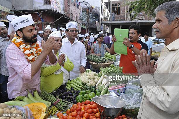 AAP candidate from New Delhi Lok Sabha constituency Ashish Khaitan campaigning for the forthcoming general election 2014 near Patel Nagar on March 24...