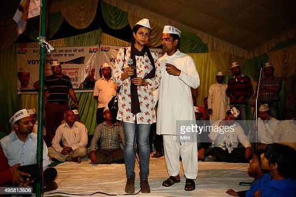 AAP candidate Gul Panag during an election campaign for Lok Sabha election 2014 on March 27 2014 in Chandigarh India