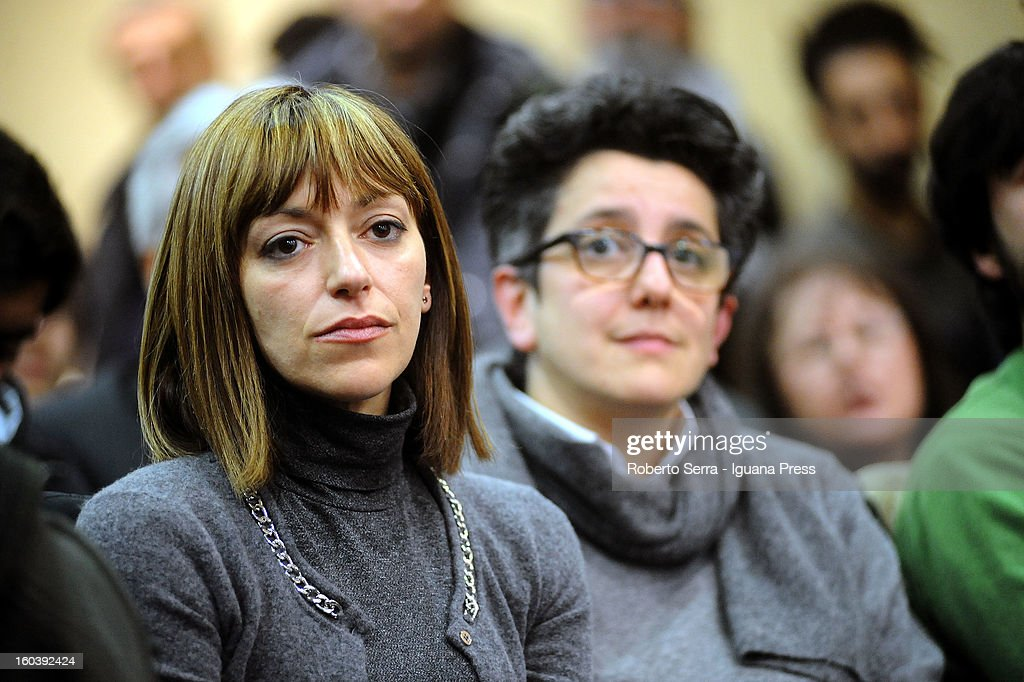 Candidate Ilaria Cucchi with Rivoluzione Civile party in the forthcoming Italian Parliamentary elections in Febraury attends a meeting with candidate Premier Antonio Ingroia at Hotel Europa on January 30, 2013 in Bologna, Italy.