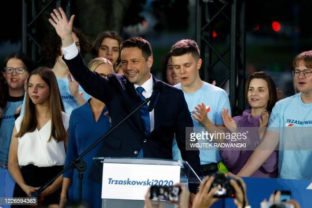 Candidate in Poland's presidential election, Warsaw Mayor Rafal Trzaskowski addresses supporters as exit poll results were announced during the...
