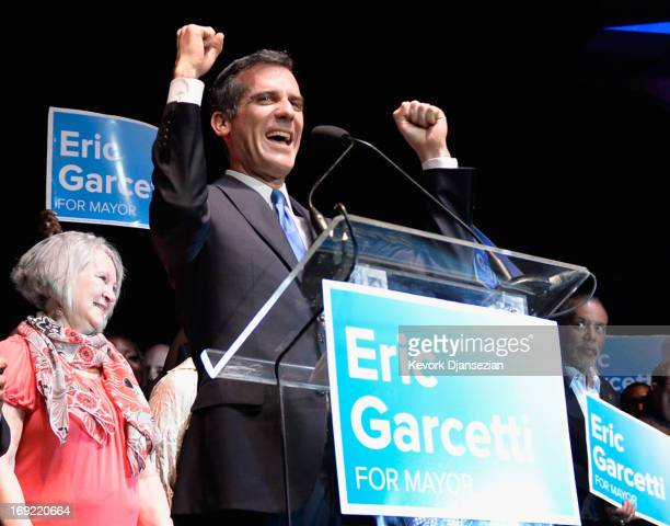 Candidate in the Los Angeles City mayoral race Councilman Eric Garcetti celebrates with supporters at an election night party at The Hollywood...