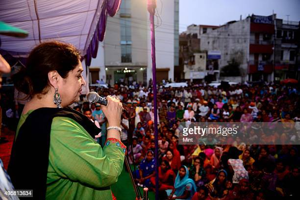 BJP candidate Kirron Kher during an election campaign for Lok Sabha election 2014 on March 27 2014 in Chandigarh India