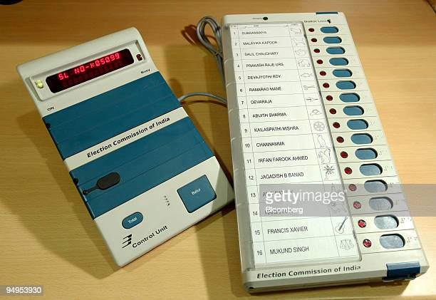 Candidate names are listed on a Bharat Electronics Ltd voting machine made for India's Election Commission in Bangalore India on Wednesday March 18...