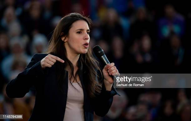 Candidate number two from 'Unidas Podemos' Irene Montero delivers a speech during Podemos Closing Rally Ahead Of General Elections on April 26 2019...