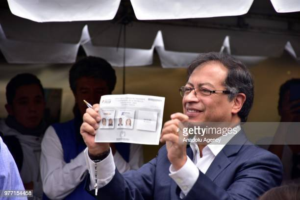 Candidate of 'Colombia Humana', Gustavo Petro Urrego, votes in the second presidential round in Bogota, Colombia on June 17, 2018.