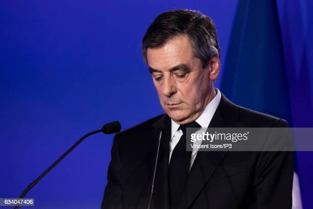 Candidate of Les Republicains rightwing Party for the 2017 Presidential elections Francois Fillon holds a press conference at his Party Headquarters...