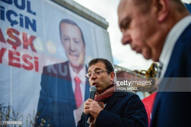 Candidate of main opposition Republican People's Party for Istanbul mayor Ekrem Imamoglu speaks during a rally ahead of the upcoming local elections...