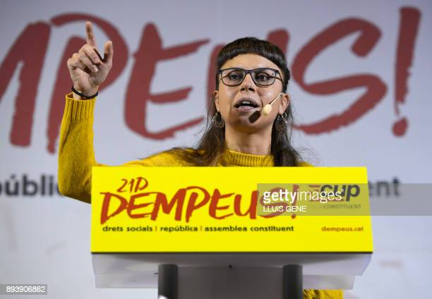 Candidate of the Catalan proindependence anticapitalist party 'Candidatura d'Unitat Popular CUP' Maria Rovira speaks during a campaign meeting in...