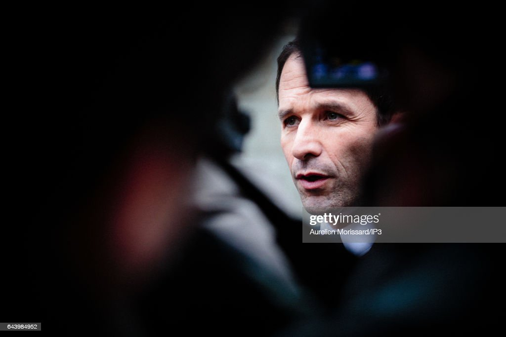 Benoit Hamon Visits the Memorial De La Shoah in Paris