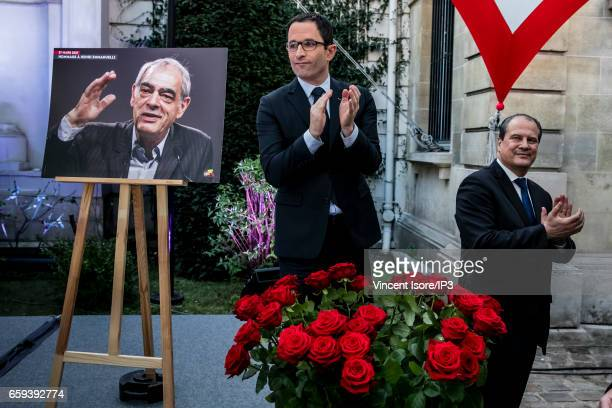 Candidate of the Socialist Party for the 2017 French Presidential Election Benoit Hamon and First Secretary of the Socialist Party Jean Christophe...
