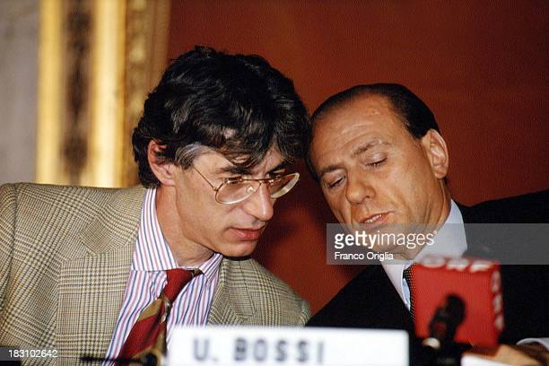 Candidate Prime Minister Silvio Berlusconi of Forza Italia and Umberto Bossi of Lega Norda hold a press conference announcing their alliance for the...