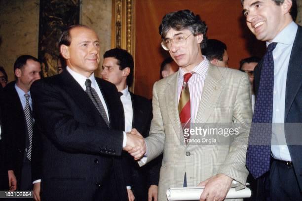 Candidate Prime Minister Silvio Berlusconi of Forza Italia, Pier Ferdinando Casini of UDC and Umberto Bossi of Lega Norda hold a press conference...