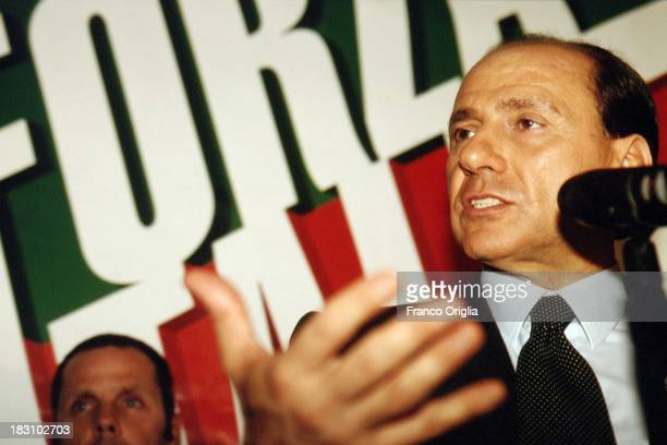 Candidate Prime Minster Silvio Berlusconi during a party of 'Forza Italia' held after his TV debate on March 23, 1994 in Rome, Italy.