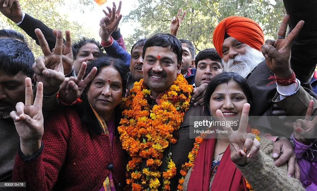 BJP candidate Shakti Parkash Devshali in jubilant mood after winning MC election at Sector 26 on December 20 2016 in Chandigarh India