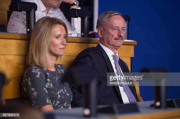 Candidate Siim Kallas former premier and EU commissioner is pictured during the last round vote of the presidential election at the Estonian...